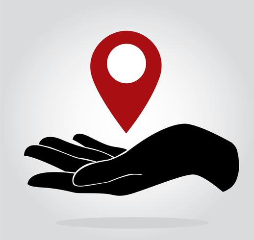 hand holding location icon symbol vector