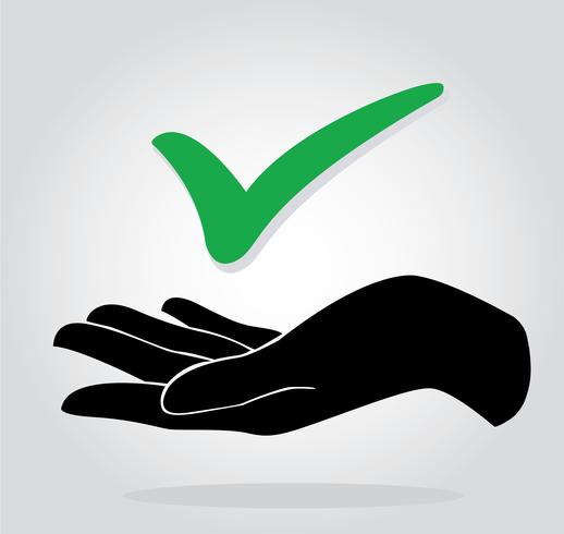 Hand halten Scheck Symbol Symbol