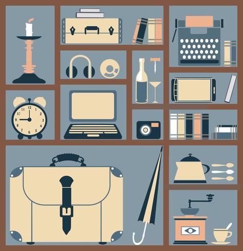 Artículos para el hogar en estilo plano