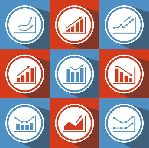 Icons with charts for design vector