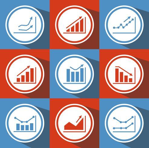 Ikoner med diagram för design vektor