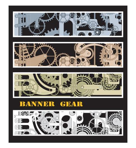Banner con ingranaggi vettore