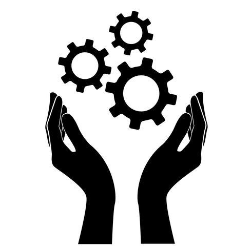 mano que sostiene el engranaje, símbolo de ingeniero vector