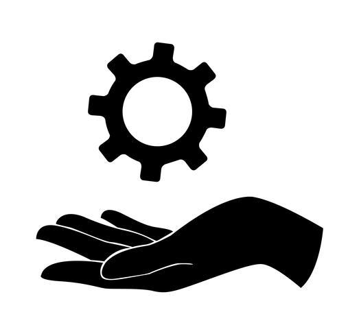 mão segurando engrenagem, engenheiro símbolo