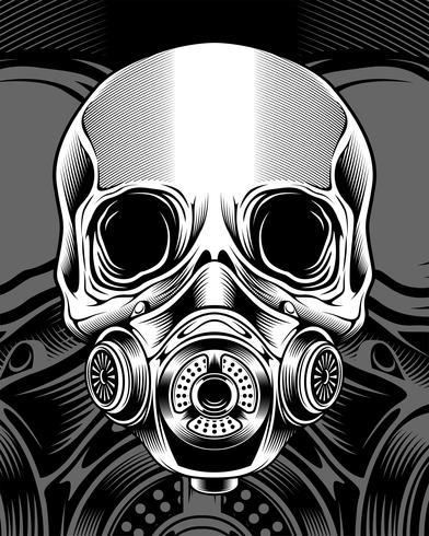 crânio com desenho de mão de respirator.vector
