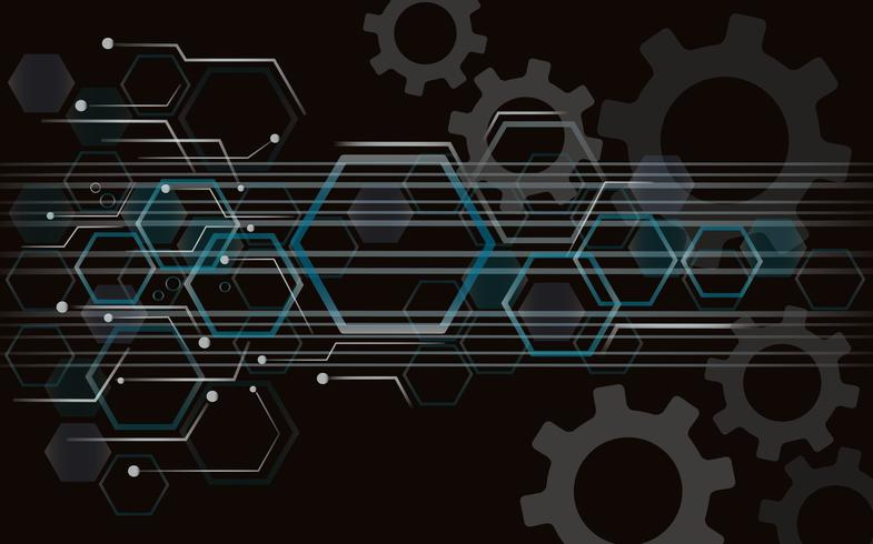 Gear and Technology line space abstract background vector