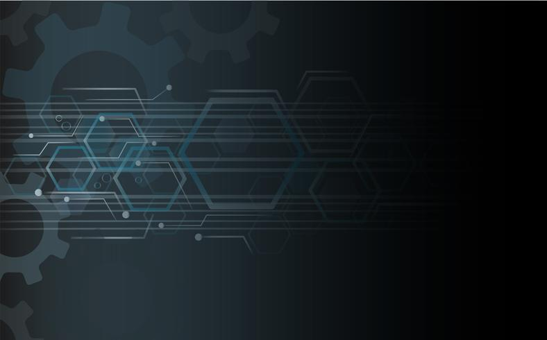Línea de engranajes y tecnología de fondo abstracto.