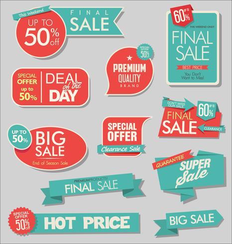 Bannière de vente et collection d'étiquettes d'offre spéciale