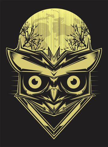 owl on forest silhouette background and moon. vector hand drawing