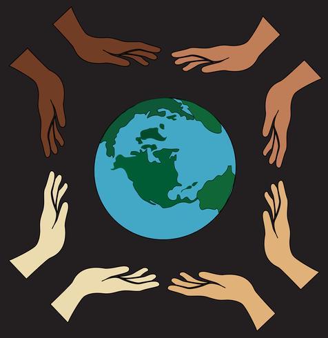 Alle Hände halten Welt