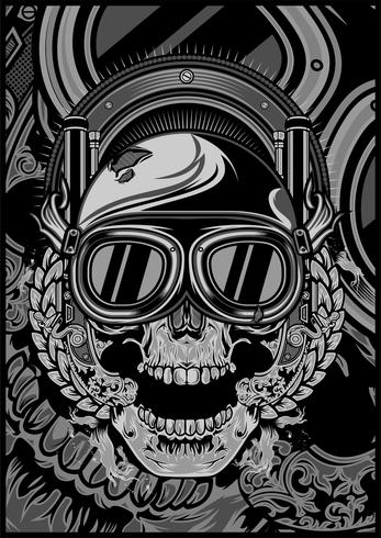 skull wearing a helmet and a google cross.vector hand drawing