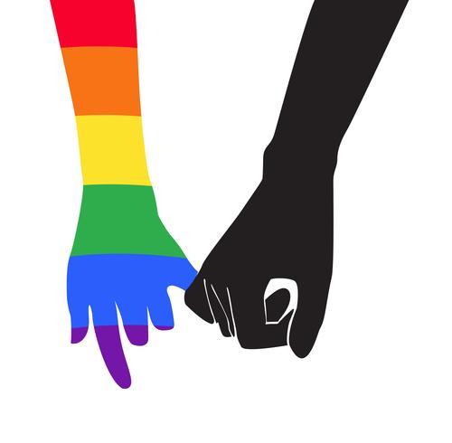 hand met een andere hand regenboog vlag LGBT symbool vector EPS10