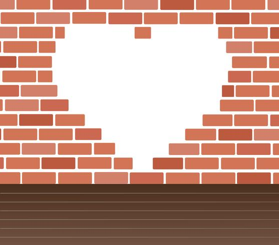 Pared de ladrillos y corazón espacio vector de arte de fondo