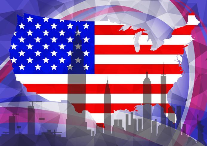 Diseño americano del vector del fondo del polígono de la plantilla de las banderas de la ciudad