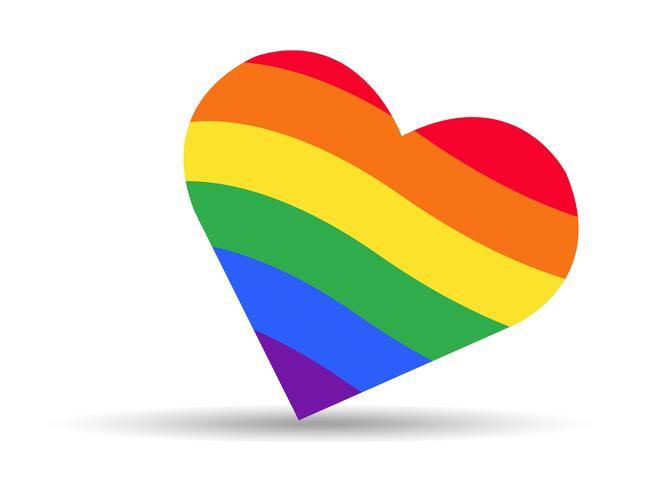 drapeau arc-en-ciel symbole LGBT sur coeur vecteur