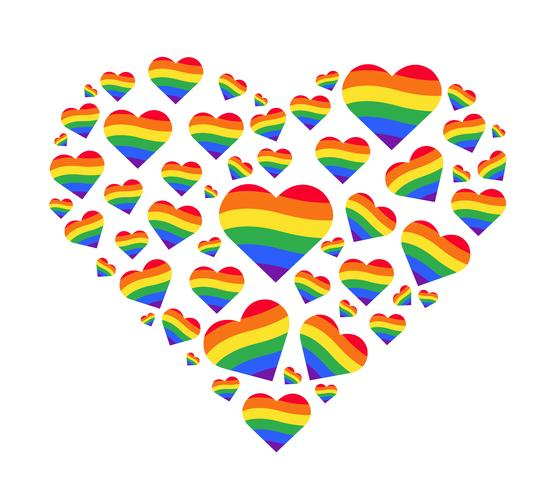 bandiera arcobaleno. Segno di gay pride LGBT. cuore arcobaleno