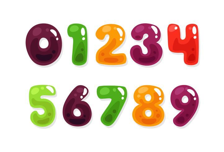 Kleurrijke jelly alfabetten voor kinderen nummers