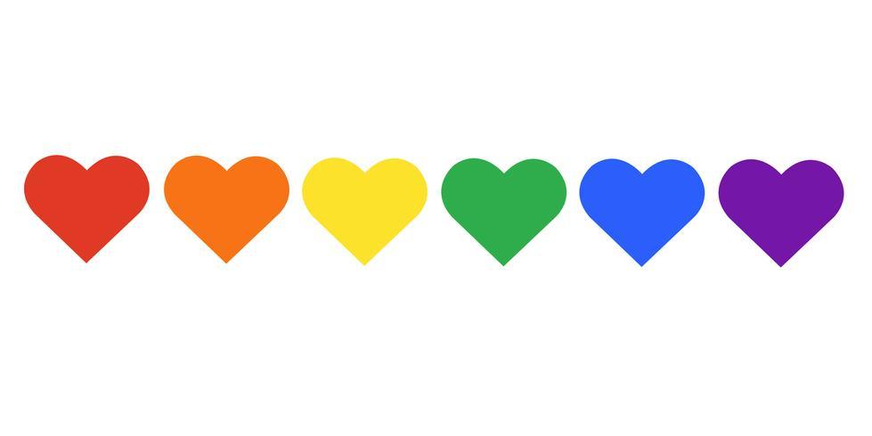 drapeau arc-en-ciel symbole LGBT sur coeur