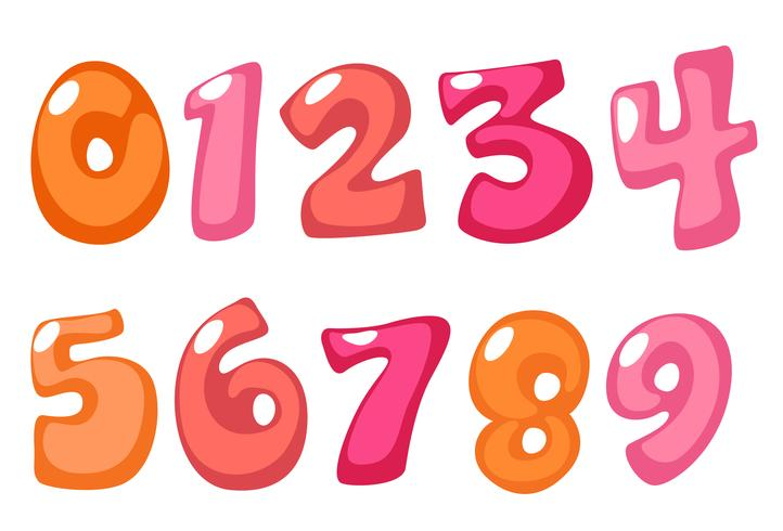 Números lindos en negrita en color rosa para niños vector
