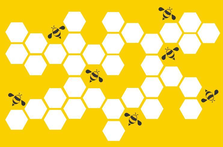 Hexagonbienenstock-Designkunst und Raumhintergrund