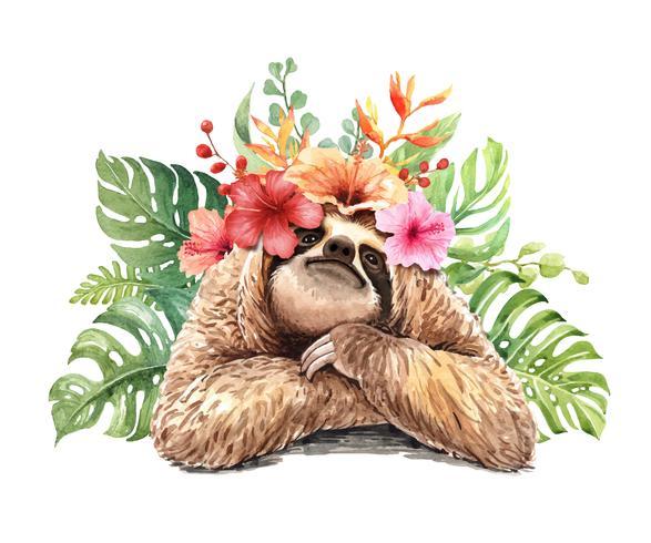 Perezosa acuarela con ramo de flores tropicales. vector