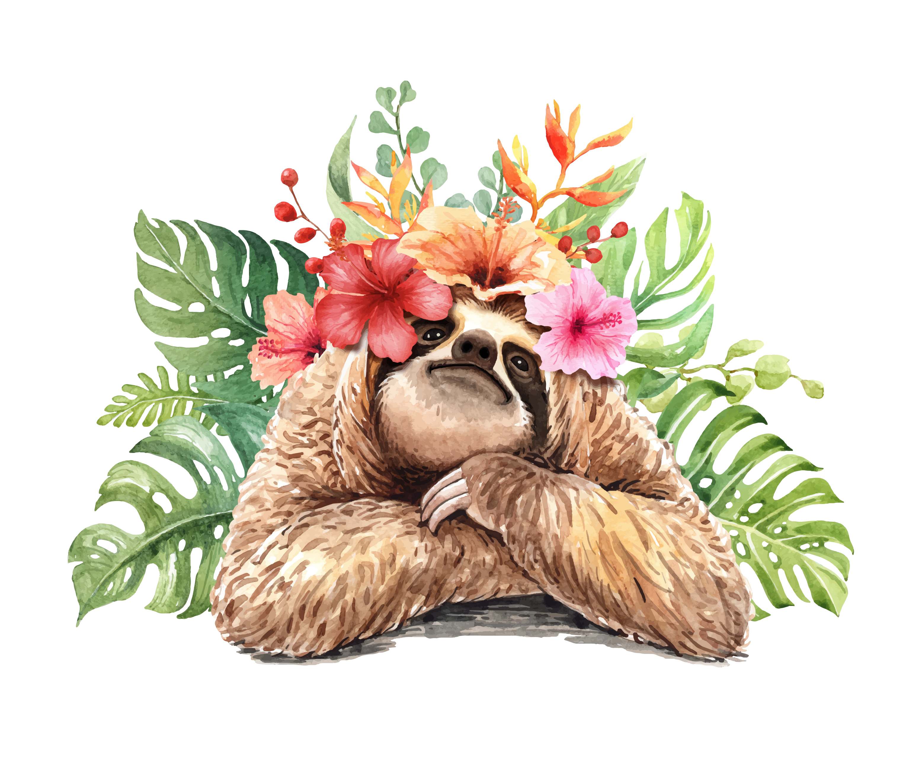 Watercolor sloth with tropical flower bouquet. - Download ...