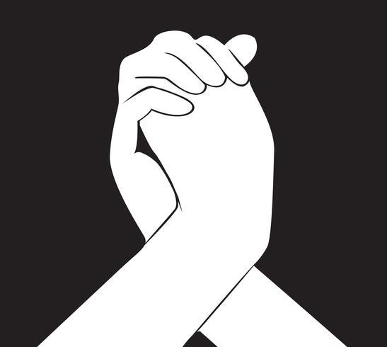 hand met een andere hand vector