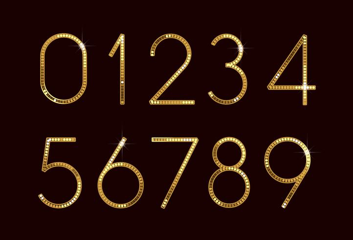 Golden fashion font numbers vector