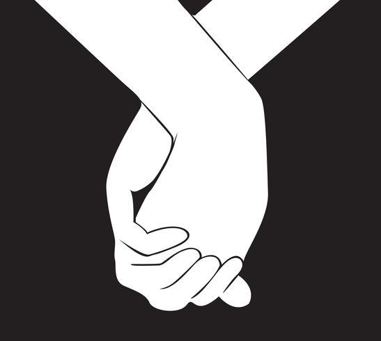 Hand, die einen anderen Handvektor hält vektor