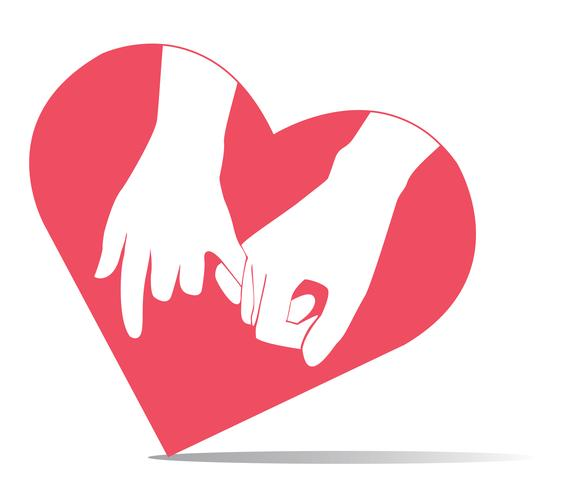 pinky promise , hand holding in heart shape  vector
