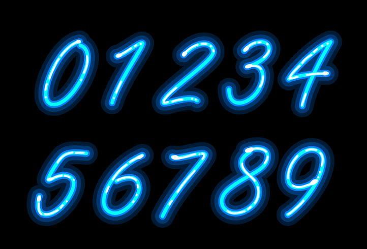 Police de l'alphabet néon en chiffres bleus