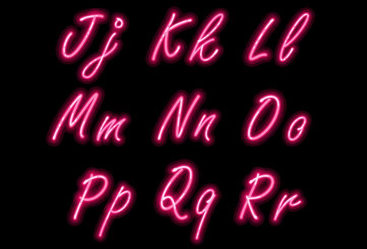 Neon alphabet font in pink color part 2