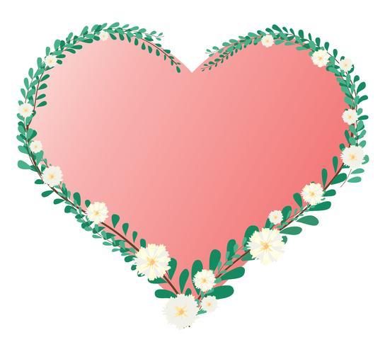 pastel hart blad en bloem kroon en ruimte achtergrond vector