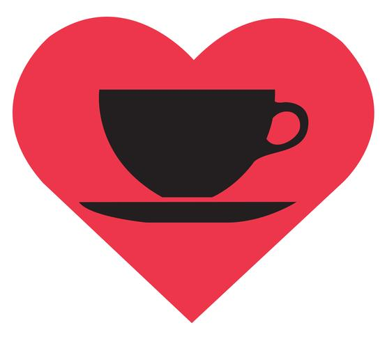El amor de la bebida caliente, vector de taza de café