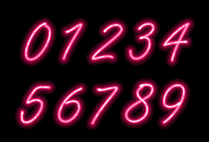 Neon alphabet font numbers