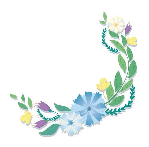 vettore di arte di foglie e fiori pastello