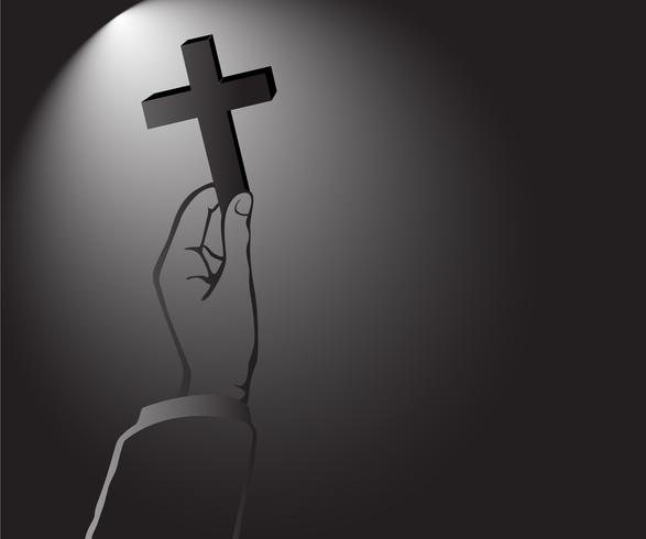 light of God in the dark , hand holding Cross of Christianity vector
