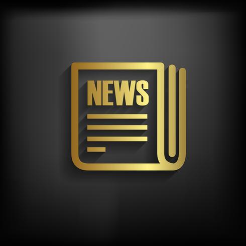 Nyhetsskylt Ikon guldfärg med lång skugga, vektor EPS10 illustration