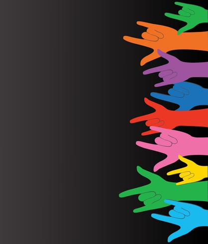 Todo color manos arriba amor signo y vector de fondo