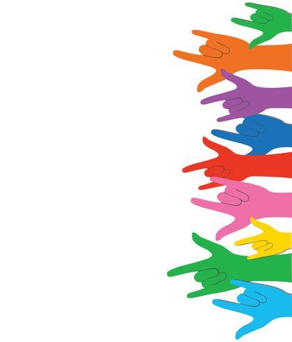 all färg händer upp kärlekstecken och bakgrundsvektor