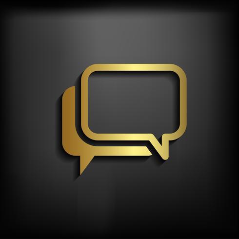 Signo de icono de chat con color oro, ilustración vectorial EPS10 vector