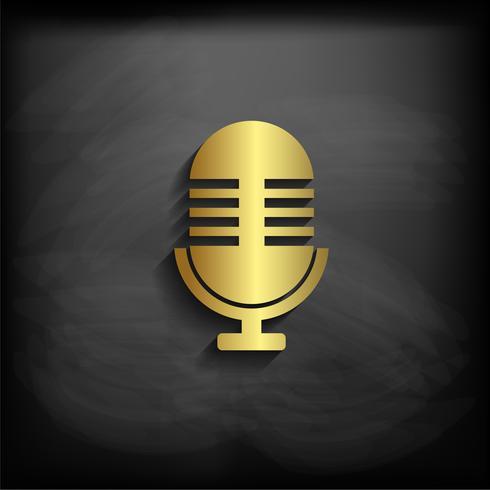 Micrófono signo o símbolo de color oro con larga sombra, vector