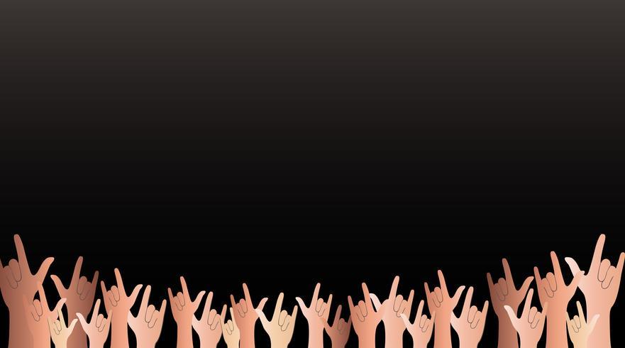 Todas las manos arriba amor signo y vector de fondo