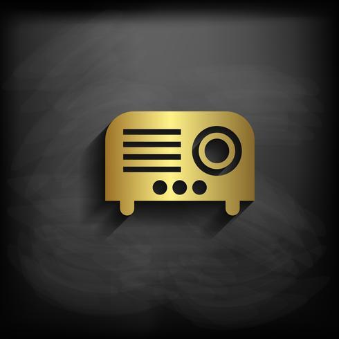 Projektorzeichenikonen-Goldfarbe mit langem Schatten, Illustration des Vektors EPS10