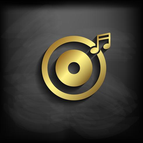 Signo de música o símbolo de color dorado con larga sombra, vector