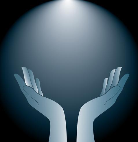 technologie handen houden en verlichting achtergrond vector