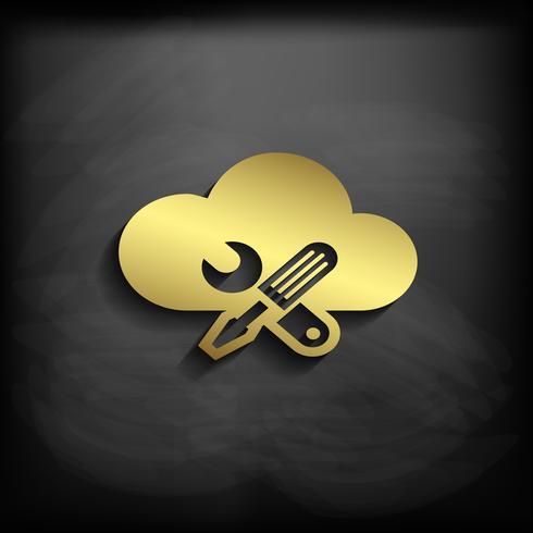 Color de oro del icono de la muestra de la nube con la sombra larga, ejemplo del vector EPS10