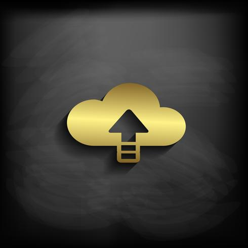 Cloud Sign or Symbol Gold Color with long shadow, vector