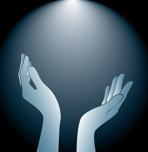 Hände, die Hintergrundvektor halten und beleuchten