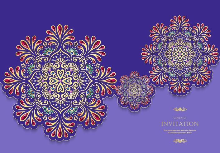 Stile dell'annata della carta dell'invito o di nozze con il fondo astratto del modello dei cristalli